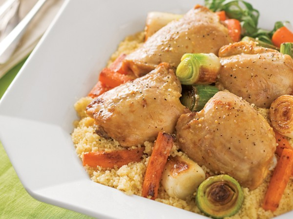 Chicken thighs braised with leeks, carrots and tarragon.