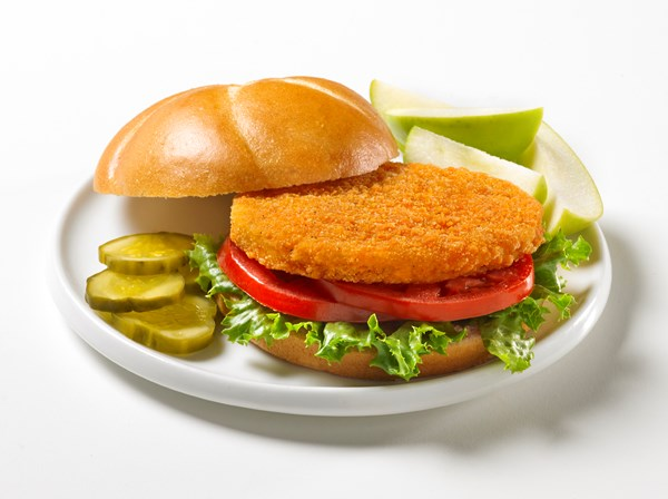 Country Pride brand chicken patties plated.